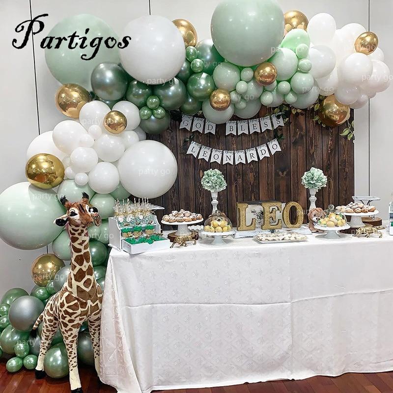 107 pièces Latex ballons Jungle fête ballon chaîne Macaron vert blanc guirlande métal or ballon fête danniversaire mariage décor