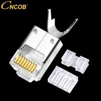 cncob cat6 rj 45 ftp connector three pieces ethernet rj45 modular crystal plug gigabit ethernet 8p8c network cable connectors
