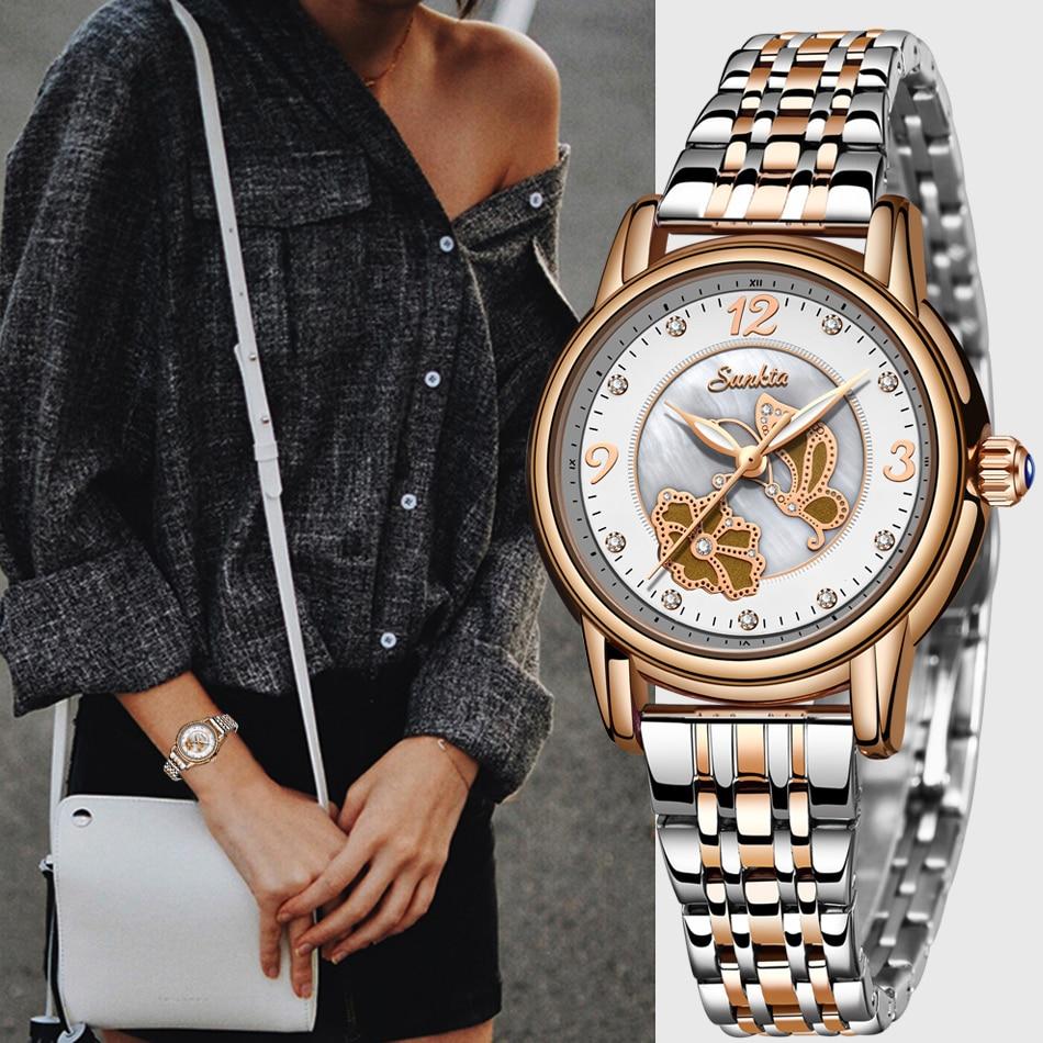2021 SUNKTA Luxury Watch Women Waterproof Rose Gold Steel Strap Ladies Wrist Watches Top Brand Bracelet Clock zegarek damski sunkta luxury women watches women waterproof rose gold steel strap ladies watch top brand bracelet wrist watch relogio feminino