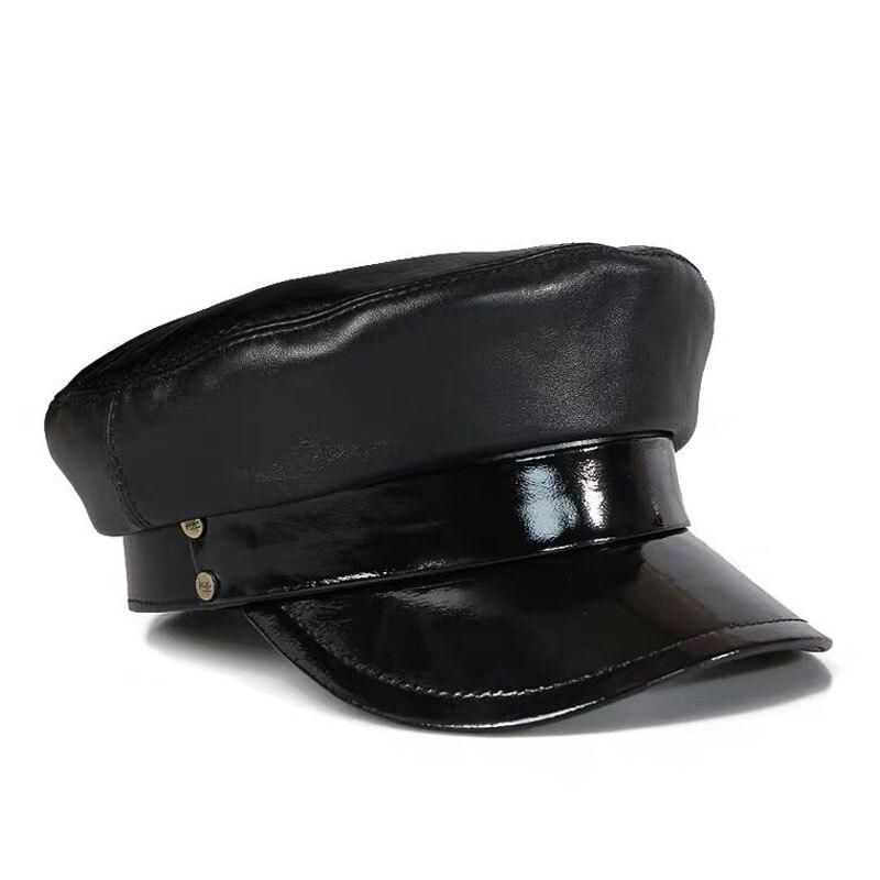 قبعة عسكرية من الجلد الطبيعي للجنسين ، قبعة عسكرية ، جلد الغنم ، دافئ ، للخارج ، الشتاء ، 100%