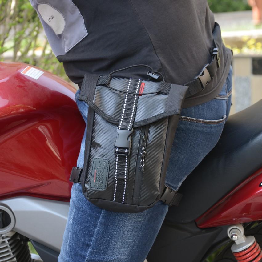 Waterproof Oxford Thigh Drop Waist Leg Bag Male Motorcycle Fanny Pack - Black