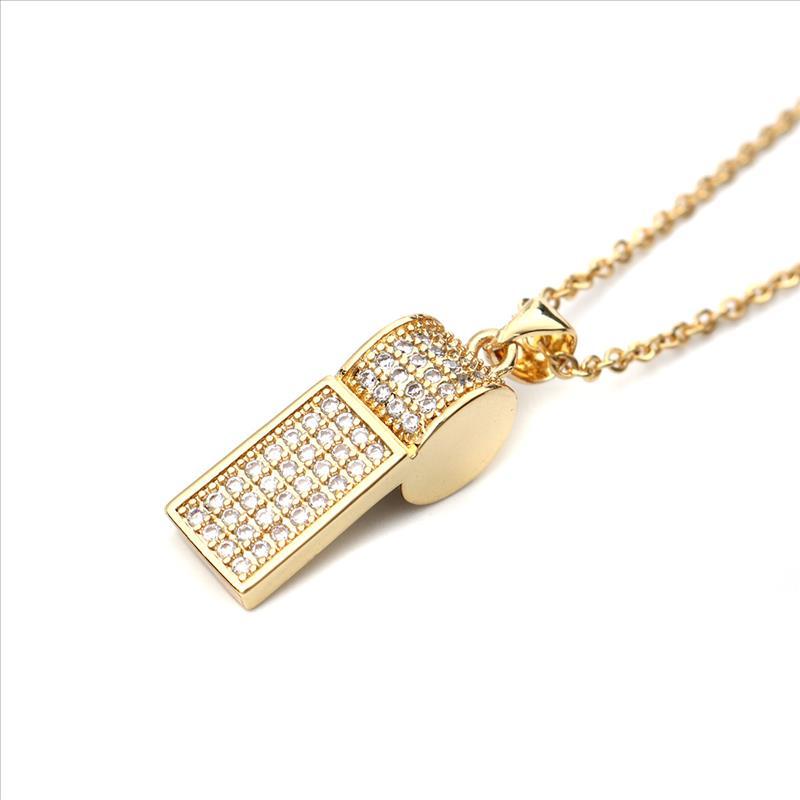 Nueva Cadena de acero inoxidable, collar de Zirconia cúbica de oro dije de silbato collares joyas para regalo de las mujeres de 45cm de largo 1 PC