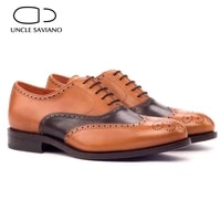 uncle saviano oxford brogue wedding dress formal man shoes office genuine leather original casual business designer men shoes