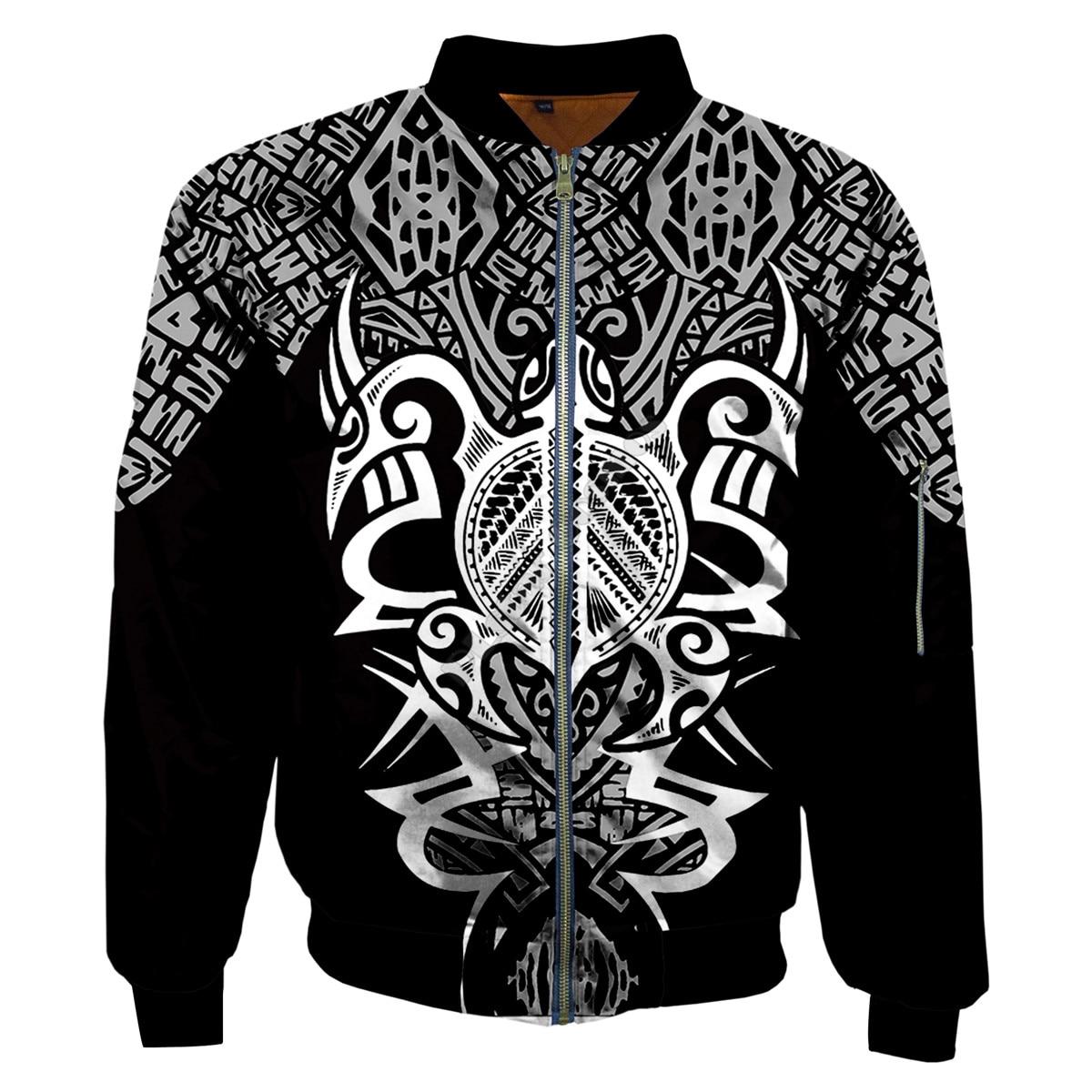 Мужские и женские зимние куртки-бомберы полинезийская черепаха татуировки 3D печатных осенняя одежда с застежкой-молнией и куртка в стиле ...