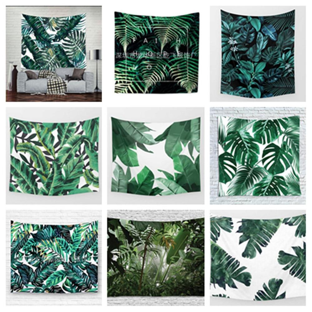 3D зеленый гобелен с изображение листьев Тропическое растение настенный подвесной фермерский Декор гобелены скатерть покрывало тенты кове...