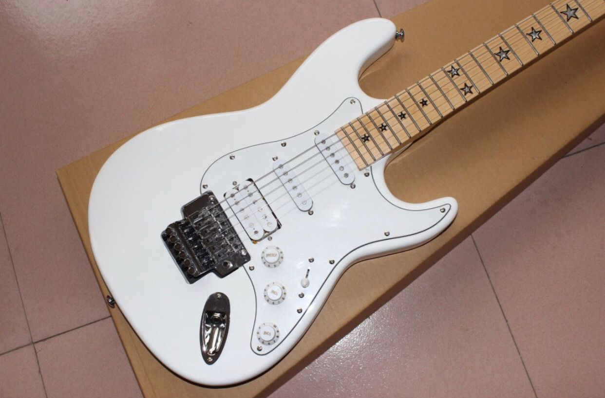 Custom shop,electric guitar.white color flame maple top gitaar,handmade 6 stings guitarra,maple fingerboard. enlarge