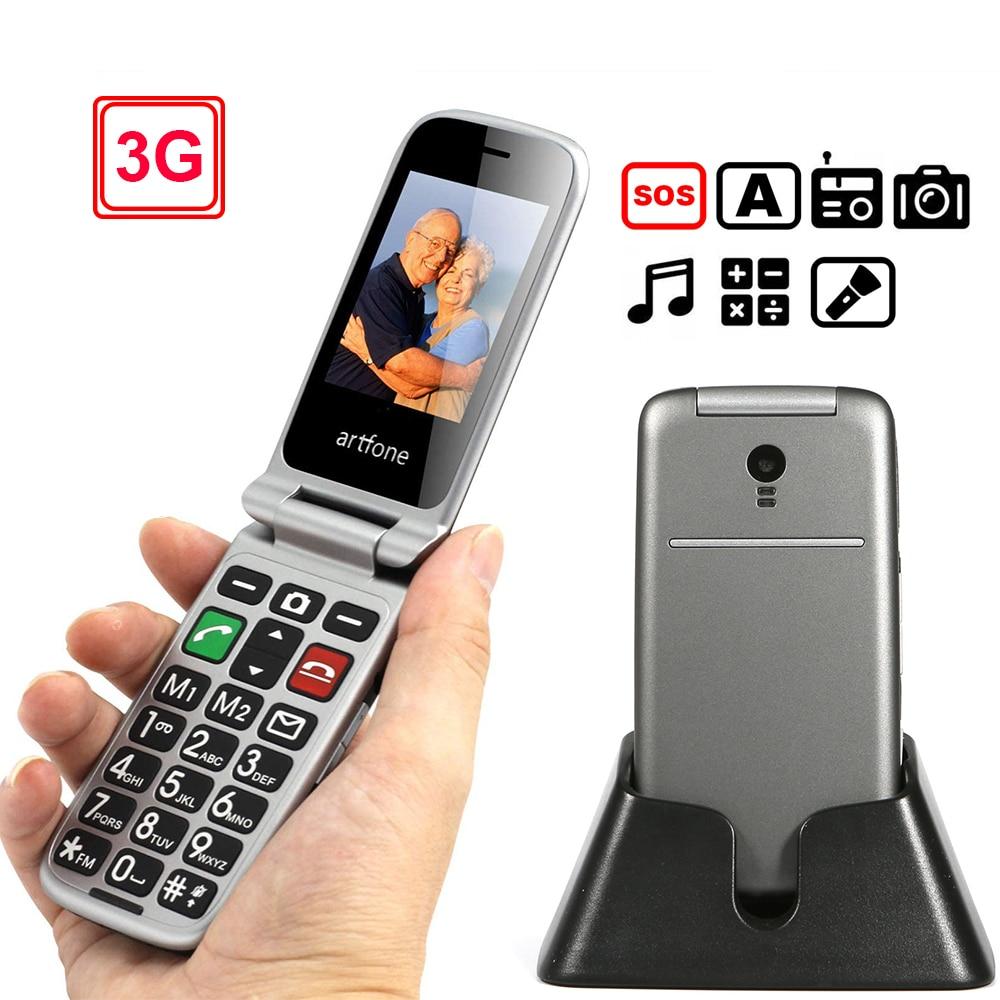 "3G Senior Phone Artfone Flip 2.4"" Screen Original Flip Big Button Cheap Senior Touch Mobile Phone Clamshell Cell Phones(3G)"