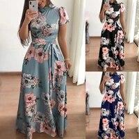 flower print long sleeve maxi dress spring autumn casual slim sashes long dress women elegant robe party dresses plus size s 5xl