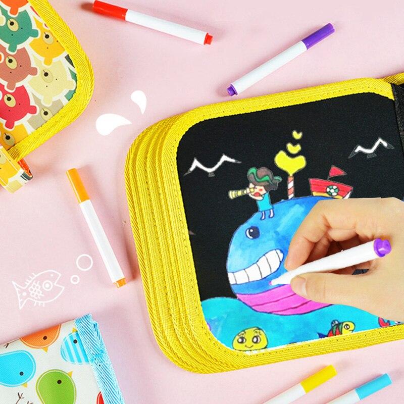 Crianças artesanato portátil água desenho placa livro scratch livro para colorir diy blackboard pintura brinquedos & hobbies para dropshipper