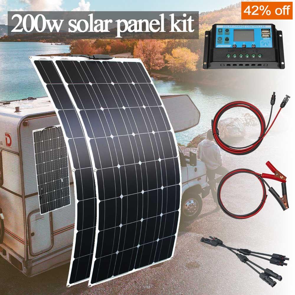 لوحة رخيصة للطاقة الشمسية 12 فولت أحادية مرنة لوحة طاقة شمسية 1000 واط عدة 100 واط 200 واط للمنزل سيارة rv قارب مع تحكم