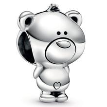 New 925 Sterling Silver Animal Bead Charm Vintage Cute Sweet Theo Teddy Bear Beads Fit Pandora Bracelet Bangle DIY Jewelry