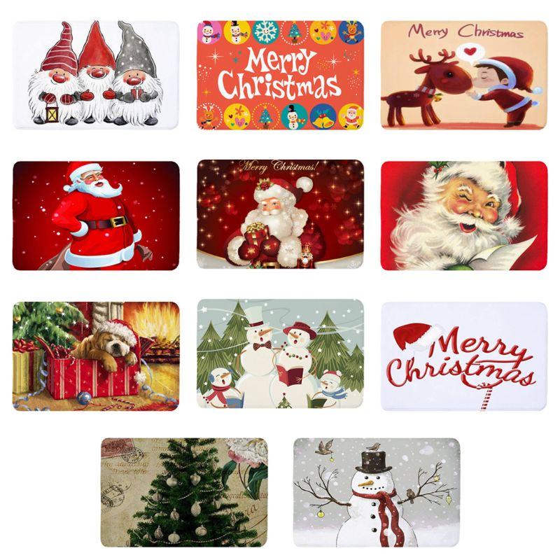 Non-Slip Fleece Door Mat Christmas Patterned Carpet For Xmas Home Decoration