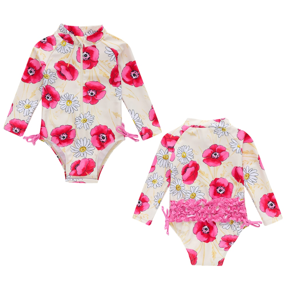 Honeyzone, ropa de playa para niña bebé, traje de baño de primavera 2020, trajes de manga larga, Bikini para niño pequeño, bimba y LOL bolso