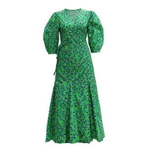Fashion Women High Luxury Summer Bohemian Vintage Elegant Green Puff Sleeve V-Neck Floral Print Short-Sleeved Midi Dress