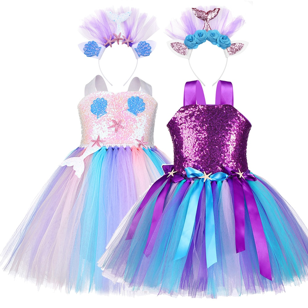 Vestido de princesa ariel, vestido de lantejoulas para meninas para aniversário, festa, sereia, trajes infantis, estampa de estrelada, vestidos marinhos, roupas de fotografia