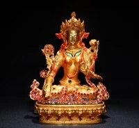 8tibet temple old bronze gilt real gold mosaic corundum seven eyes tara guanyin bodhisattva statue enshrine the buddha