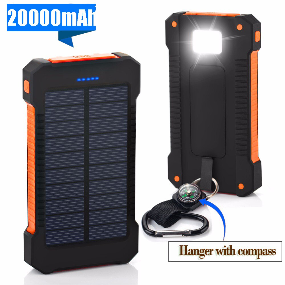 Для XIAOMI Внешний аккумулятор 20000 мАч портативный солнечный внешний аккумулятор 20000 мАч Внешний аккумулятор с двумя портами зарядное устройство мобильное зарядное устройство