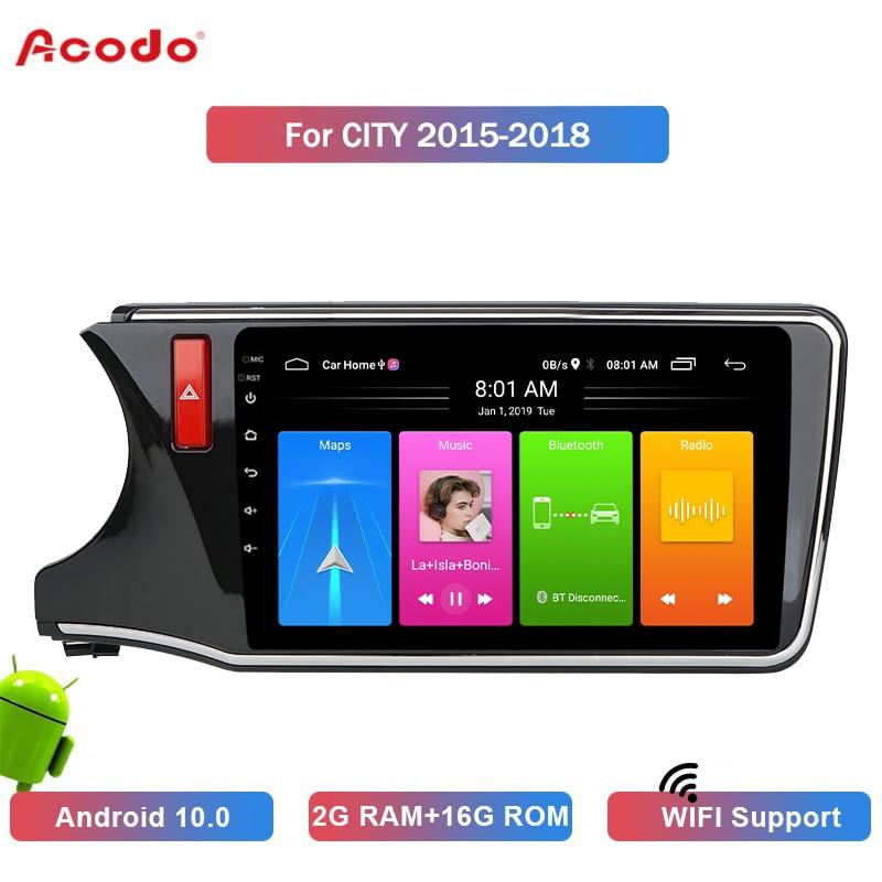 Автомобильная магнитола ACODO 2 + 16G Android 10,0, мультимедийный плеер для Honda CITY 2015-2018, навигация GPS, 2 din