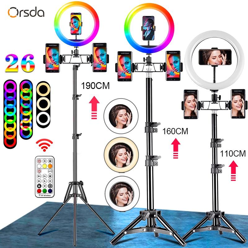 Ringlight com Tripé Lâmpada de Maquiagem Estúdio de Vídeo para Youtube Orsda Polegada Anel Luz l Selfie Suporte Tik Tok 10-12 Led