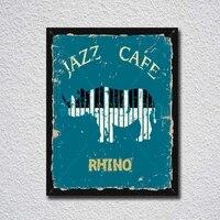 jazz cafe rhino vintage tin sign metal sign metal poster metal decor metal painting wall sticker wall sign wall decor