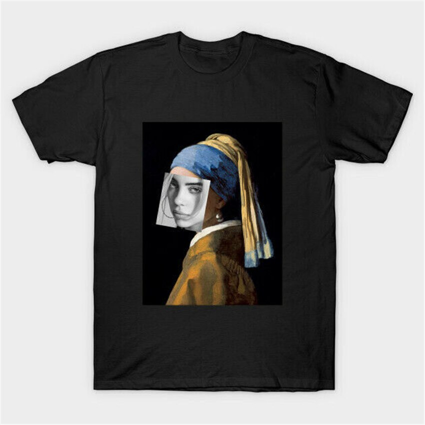 Billie Eilish chica con un pendiente de perla parodia camiseta negra Johannes Vermeer Streetwear Tee camiseta
