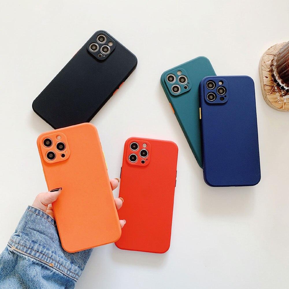 Square Silicone Case For iPhone 11 Pro Max XS X XR 6 6s 8 7 Plus SE 2020 12 Mini Solid Color Soft Ba