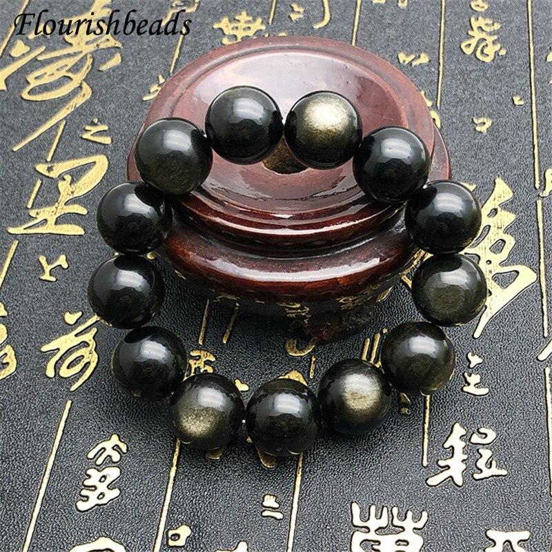 Obsidiana dorada Natural Nugget perlas redondas de piedra preciosa pulsera fina joyería pareja decoración fiesta regalo 6mm 8mm 10mm 12mm 14mm 16mm