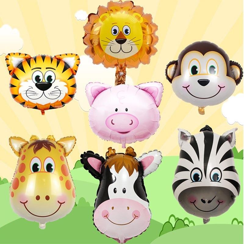 Globo Animal de dibujos animados película de aluminio Baby Shower globos Mini cabeza de Animal Tigre mono niño juguete fiesta de cumpleaños decoración