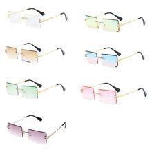 New Frameless Cut Edge Square Sunglasses Fashion Men and Women Small Color Sun Glasses A2UA