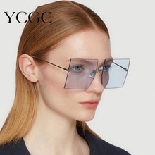 Oversized Rimless Square Sunglasses Women 2020 New Luxury Brand Fashion Flat Top Red Blue Clear Lens