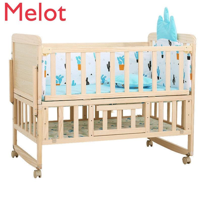 سرير الطفل خياطة السرير مهد طفل سرير خشب متين خالية من الطلاء متعددة الوظائف سرير الأطفال حديثي الولادة السرير السرير جودة عالية