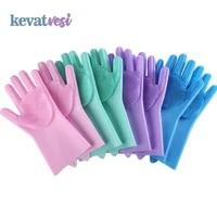 1pair silicone washing gloves kitchen cleaning gloves dishwashing glove household scrubber brush kitchen clean tool scrub