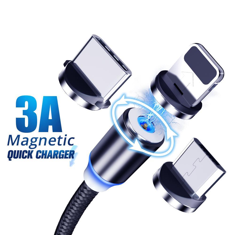 Cable de carga magnético LED, Micro Usb tipo C, 8 pines, para...