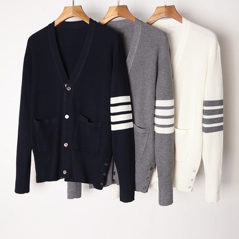 2021 Fashion Brand Sweaters Men Slim Fit V-Neck Cardigans Clothing Waffle Striped Wool Spring and Autumn Casual Coat
