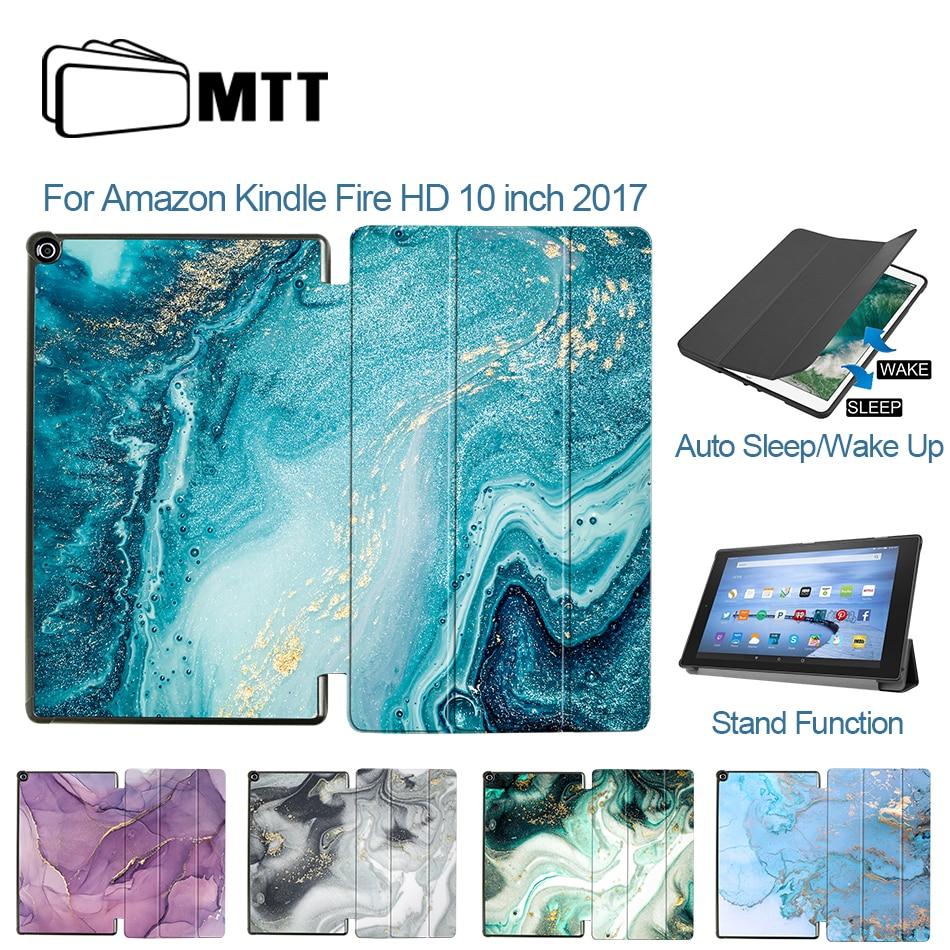 Funda de cuero MTT PU para Amazon Fire HD de 10 pulgadas y 2017 con soporte magnético Delgado, funda inteligente de mármol para Tablet, funda para Auto Sleep /Wake Up