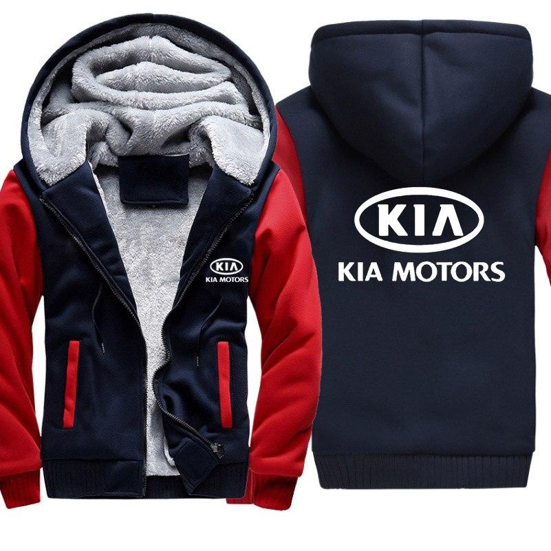Hoodies Homens KIA Logotipo Do Carro de Impressão Hoodies Homens Jaqueta de Inverno Engrossar Quente algodão de Lã Com Zíper Casaco Raglan Casuais Agasalhos Masculinos