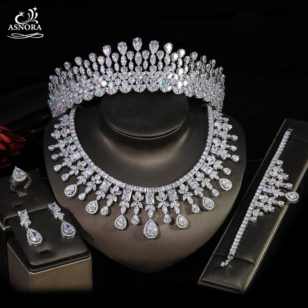 ASNORA-طقم زفاف فاخر من 5 قطع ، عقد وأقراط وخاتم وسوار ، مجوهرات حفلات مأدبة ، دبي