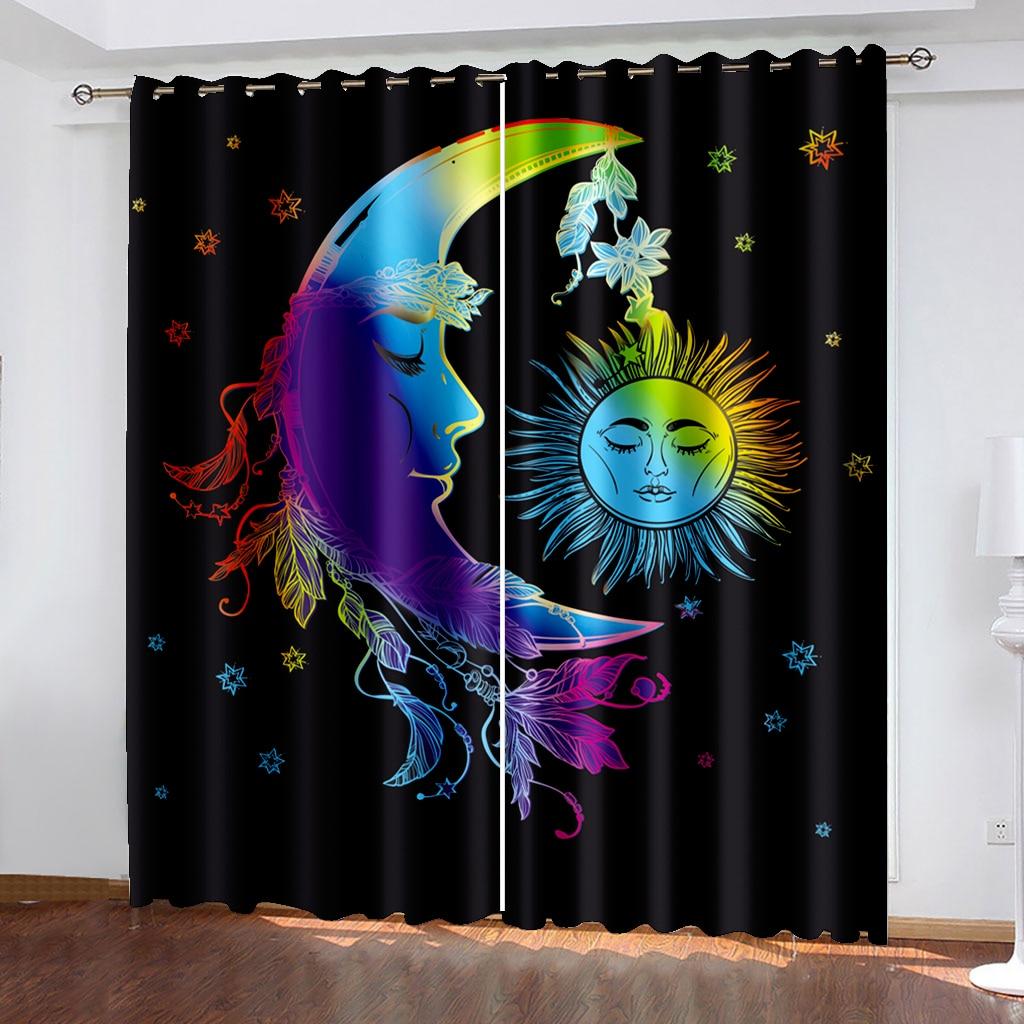 الشمس والقمر الأسود ثلاثية الأبعاد المطبوعة الأسود خارج ومريحة مجموعة الستار ، ومناسبة للجميع الذي يستخدم للنوم في الظهر