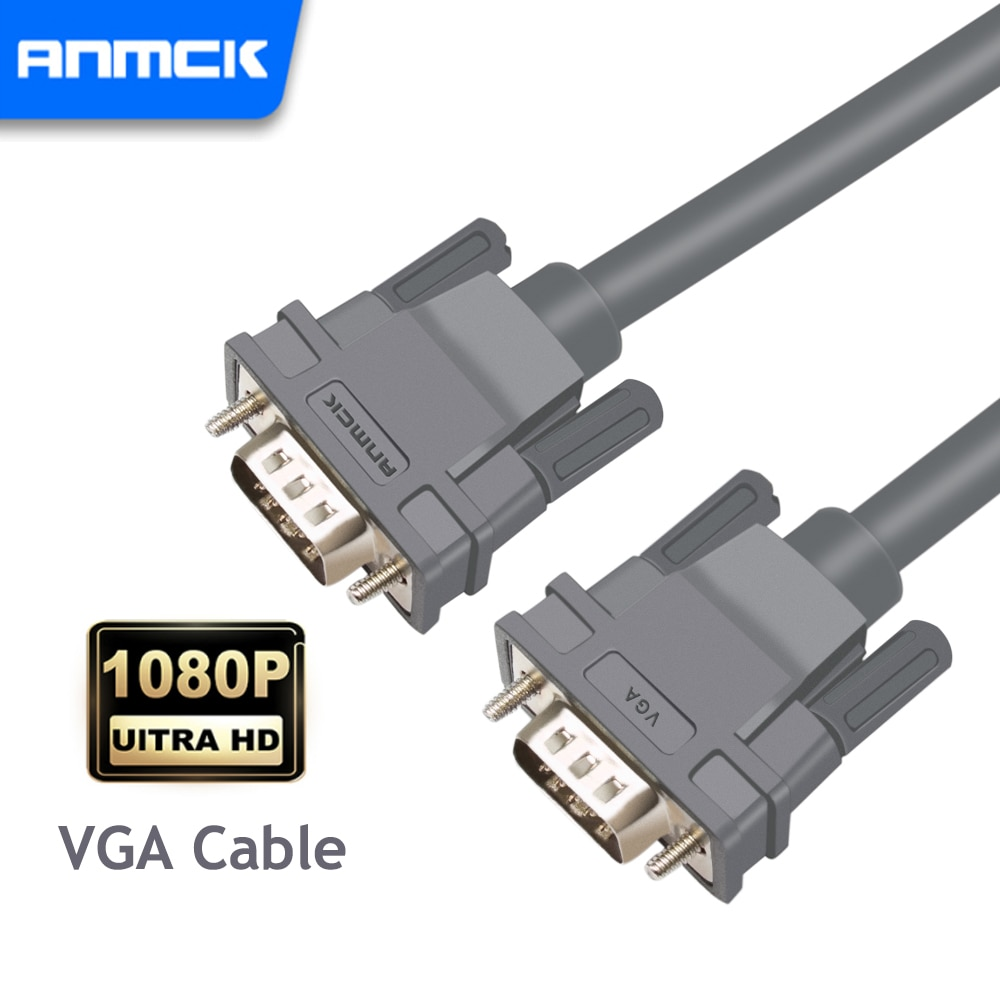 Anmck-Cables VGA 2,0 macho a macho, Cable de cobre puro 1080P VGA3...