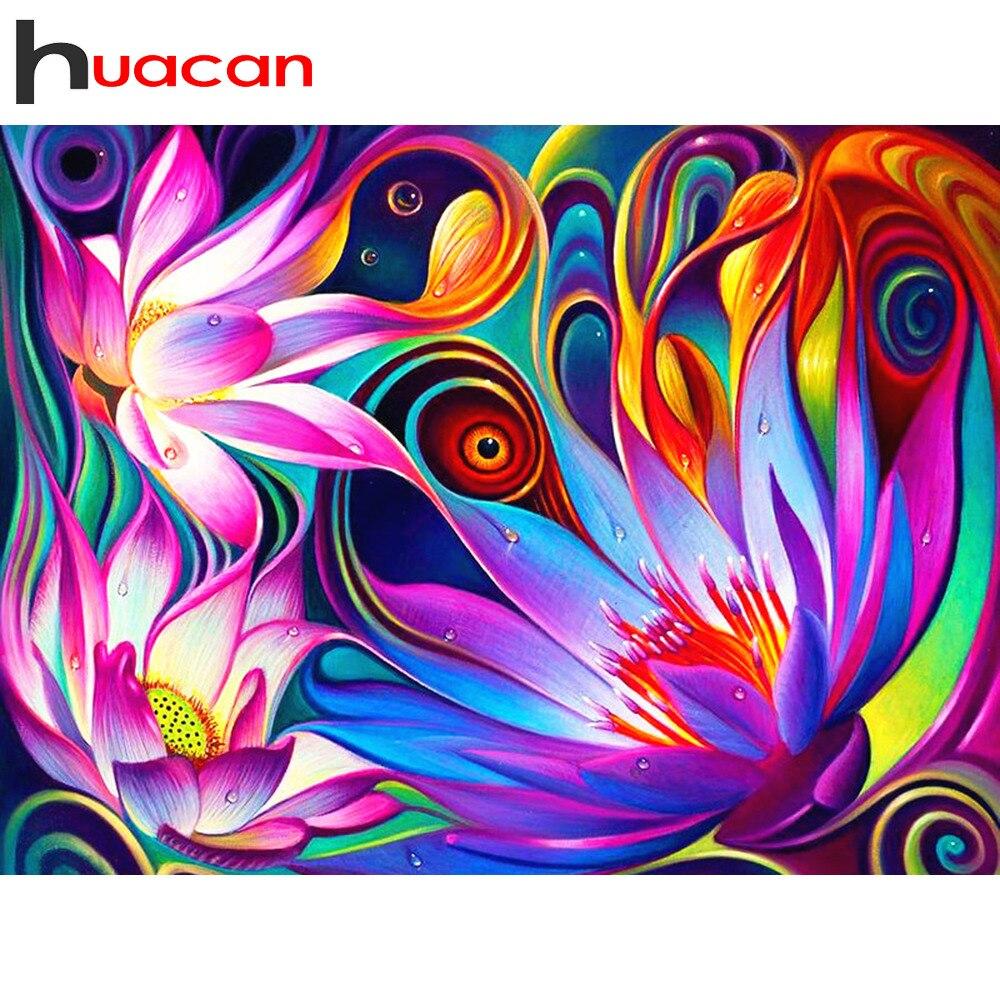 Kit completo de bordado de diamantes Huacan, pintura de diamantes con diamantes de imitación, flor, diamante, mosaico, puntada, decoración del hogar, triangulación de envíos