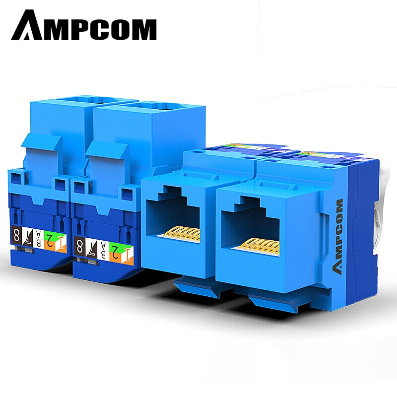 AMPCOM 10-Pack CAT6 RJ45 Tool-Less Keystone Jack, No Punch Down Tool Required UTP Module Connector Blue