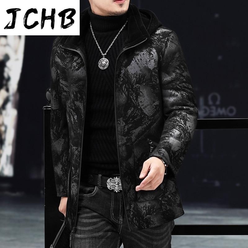 JCHB-سترة جلدية بغطاء للرأس للرجال ، جاكيت من الجلد الأصلي للخريف والشتاء ، AJHL19A2178 KJ3824