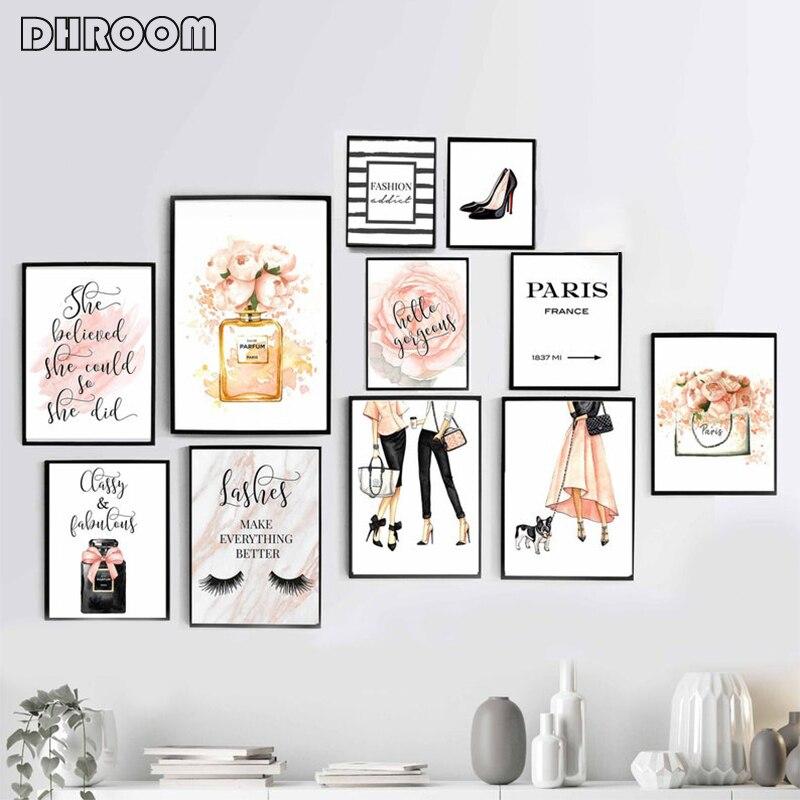 Cartel de moda rubor Rosa pared arte Perfume impresiones lienzo pintura regalo para su pestañas pared imagen moderna decoración de dormitorio de niñas