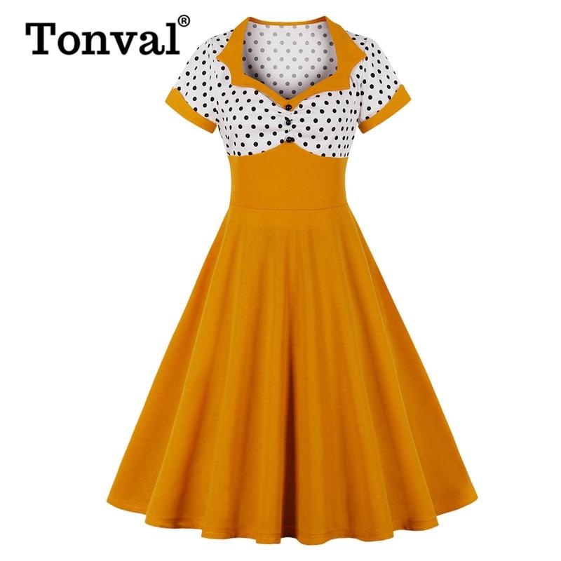 Женское винтажное вечернее платье Tonval, двухцветное ТРАПЕЦИЕВИДНОЕ ПЛАТЬЕ с вырезом сердечком, на пуговицах, летнее желтое платье в горошек