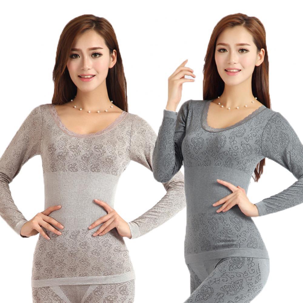 70% Hot Sell Women Winter Thermal Underwear High Elasticity O-Neck Top Long Johns Pajama Set