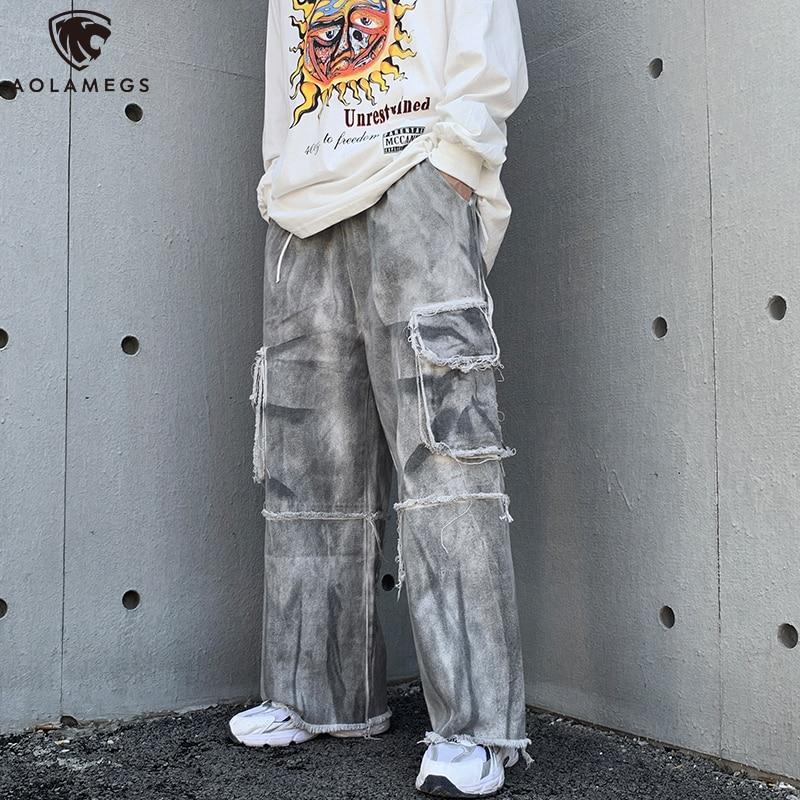 Aolamegs الرجال سراويلي حريمي الخريف عادية مطبوعة بنطلون موضة فضفاض السراويل عالية الشارع المرقعة اللون سليم Sweatpants M-5XL
