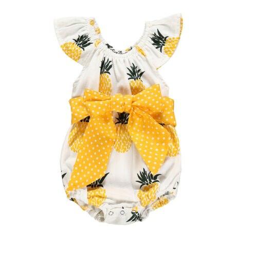 Trajes de cuerpo lindo dulce 2019 bebés recién nacidos niñas estampado de piña mameluco Bodysuit Bowk Fly manga Bodysuits Sunsuit traje de verano