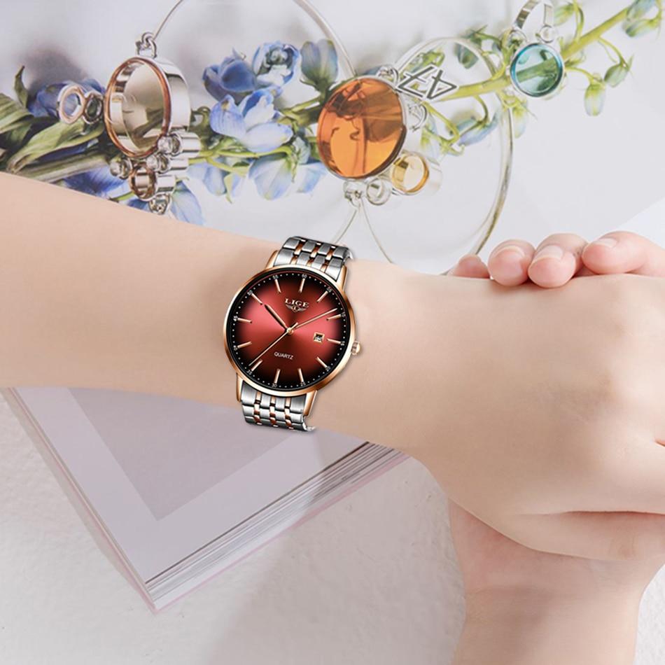 LIGE Fashion Women Watch Top Brand Luxury Ladies Steel Belt Ultra-thin Watch Stainless Steel Waterproof Quartz Watch Reloj Mujer enlarge
