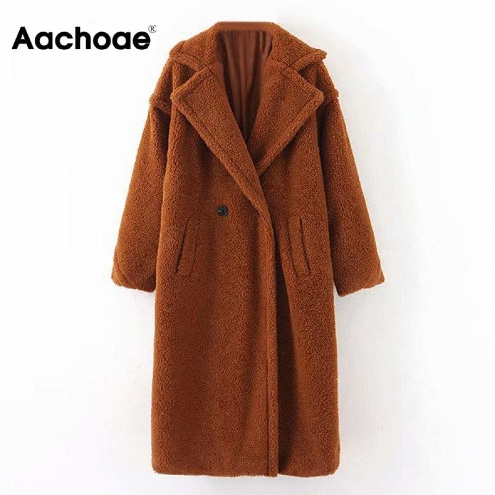 Aachoae-جاكيت صوف نسائي بأكمام طويلة ، معطف شتوي غير رسمي ، لون عادي ، ياقة مقلوبة ، ملابس خارجية