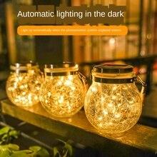 Lampe solaire à Led chaude fissure suspension lumière boule verre pot lumière extérieure jardin décoration arbre fil de cuivre lumière lumière de noël